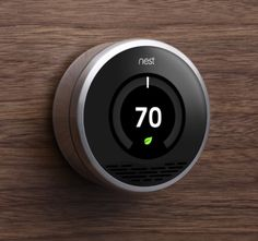 Nest is a self-programming thermostat that learns the temperature preferences and schedules of its owners in order to save energy. Nest can also be controlled… Green Technology, Home Technology, High Tech Gadgets, Cool Gadgets, Google Buy, Smartphone, Nest Thermostat, Thermostat Cover, Industrial Design