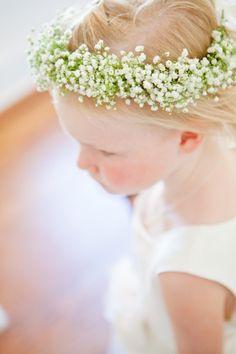 Baby's breath flower crown: http://www.stylemepretty.com/new-york-weddings/long-island/2014/05/09/elegant-shelter-island-wedding/ | Photography: Samantha Lauren - http://www.samanthalaurenphotographie.com/