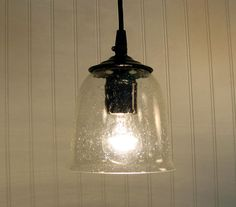 Hollis Seeded PENDANT Light with Clear Bulb by LampGoods on Etsy, $49.00 **Would match the glass in the cabinets