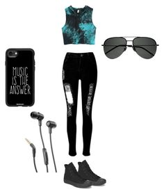 """"" by kaitlynaubuchon on Polyvore featuring WithChic, Converse, Casetify, Yves Saint Laurent and JBL"