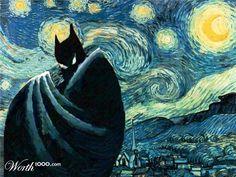 """Starry Night with the Dark Knight... Tanto que le han hecho a la """"Noche estrellada"""" de Van Gogh, pero esta no estoy segura que me guste"""