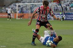 Rafinha of Cruzeiro fights for the ball with Rodrigo Caio of Sao Paulo during a match between Cruzeiro and Sao Paulo as part of Brasileirao Series A 2017 at Mineirao stadium on May 14, 2017 in Belo Horizonte, Brazil.