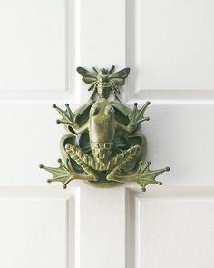 "Door knocker made of aluminum with verdigris patina. 10""W x 3.5""D x 10""T. Imported.                                                                                                                                                      More"