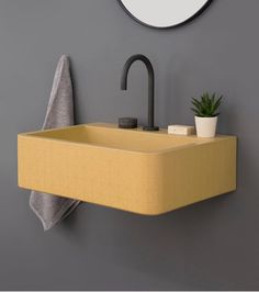Kast Launches Collection of Patterned Concrete Basins Called Kast Canvas - Design Milk Gelbes Badezimmer