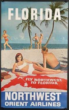 Northwest Orient Airlines ~ Florida (USA) Vintage travel beach ca. 1960 -  Visit Florida - enter www.FLAVACA.com