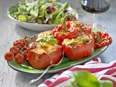 Recept färsfylld paprika | Allas Recept Lchf, Mozzarella, Stuffed Peppers, Vegetables, Cooking, Diabetes, Food, Red Peppers, Kitchen