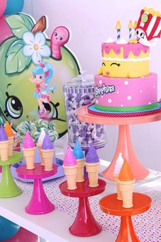 Plastic ice cream cones and cake from Stylish Shopkins Birthday Party at Kara's Party Ideas. See more at karaspartyideas.com!