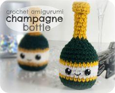 Crochet Amigurumi Champagne Bottle.