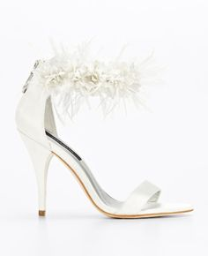 katrina floral ankle strap sandals - notice the sipper in back ann taylor $225 #mirabellabeauty #wedding #shoes