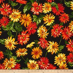 Michael Miller Florals Gerbera Garden Black from @fabricdotcom  Designed for Michael Miller, this floral cotton print fabric is perfect for quilting, apparel and home decor accents. Colors include black, shades of yellow, shades of orange, shades of green and brown.