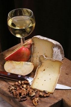 Wine, French cheese, fruit and nuts...