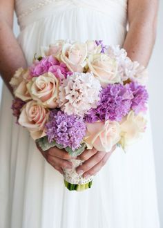 {Beautiful Hand Tied Bridal Bouquet Which Features Cream Sahara Roses, Pink Hydrangea, Lavender Hyacinth, Light Pastel Pink Hyacinth, & Dusty Miller.I ❤ This Bouquet! Lilac Wedding Flowers, Spring Wedding Bouquets, Flower Bouquet Wedding, Bride Bouquets, Purple Wedding, Floral Wedding, Wedding Colors, Spring Flowers, Wedding Ideas