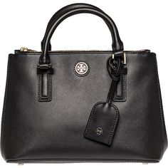 TORY BURCH HANDBAGS Robinson Micro Double Zip Tote Black Leather (555 CAD) ❤ liked on Polyvore featuring bags, handbags, tote bags, purses, black leather, tote purses, leather tote bags, leather hand bags, tory burch tote and tory burch tote bag
