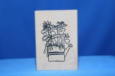 Watering Can Flowers Growing Out! Imaginations Wood & Foam Backed Rubber Stamp         http://autopartspuller.com/ Great Sale 50% off entire store!! Copper, Glassware, Wood Crafts, Scrap Booking   Also Find us on:  http://hometownvintage.com http://autopartspuller.com @HomeTownVintage @autopartspuller @preppershowto http://facebook.com/hometownvtg http://facebook.com/AutoPartsPuller