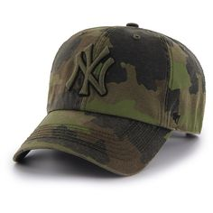 MLB New York Yankees Frontline Green Camo Adjustable Hat Cap (€25) ❤ liked on Polyvore featuring accessories, hats, yankees camo hat, major league baseball caps, sports cap, camouflage hats and camouflage yankees hat