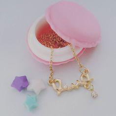#love #necklace #jewelry #cute #kawaii #handmade #fashion #pendant #instacute #gift #jewellery #subscriptionbox #macarons #macaron #origami #star #paperstars #origamistars by supercutebox