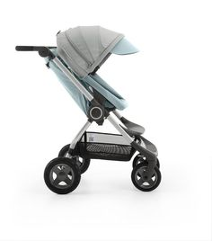 Two-way facing seat w/ 3 seating positions & a brand new color too Aqua Blue – Stokke Scoot Stroller Urban Stroller, City Stroller, Aqua Blue, Prams And Pushchairs, Baby Carriage, Baby Registry, Baby Gear, Baby Photos, Jogging