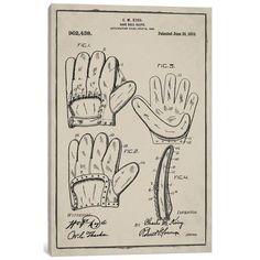 "East Urban Home 'C.M. King Baseball Glove' Graphic Art Print on Canvas Size: 40"" H x 26"" W x 1.5"" D"
