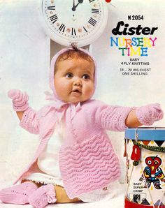 Baby Matinee Jacket Bonnet Bootees & Mittens in 4 ply Sizes 18