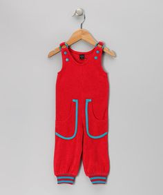 Red & Petrol Blue Velour Overalls - Infant by moonkids on #zulily today!