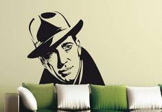 Humphrey Bogart Wall Sticker. The America cultural icon is a totemic star of a million hearts. Install this incredible sticker wall decal to bring in a hint of elegance, classiness and sophistication into your livelihoods. http://walliv.com/humphrey-bogart-wall-sticker-wall-art-decal