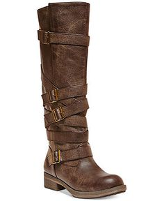 Madden Girl Lilith Wide Calf Tall Shaft Strapped Buckle Boots - Shoes - Macy's