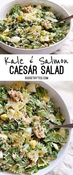 Kale & Salmon Caesar Salad is a filling and flavorful way to use budget friendly canned salmon. #salmonrecipes #easydinner #dinnerrecipes #caesarsalad #kale