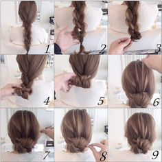 Easy twist and plait hairstyle Bun Hairstyles, Pretty Hairstyles, Wedding Hairstyles, Chignon Hairstyle, Hair Arrange, Hair Setting, Love Hair, Hair Day, Hair Designs