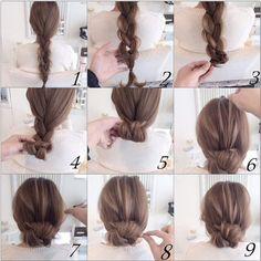 Easy twist and plait hairstyle Bun Hairstyles, Pretty Hairstyles, Wedding Hairstyles, Chignon Hairstyle, Hair Arrange, Hair Setting, Love Hair, Hair Day, Hair Designs