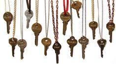 Custom engraved key necklace.