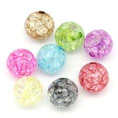 10 Perles rondes acryliques mixtes 12mm PA2016016 : Perles Synthétiques par creatist