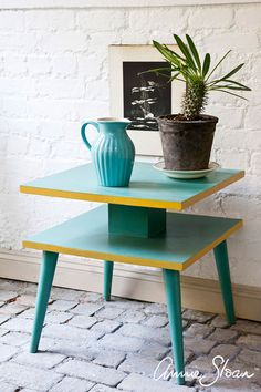 Annie painted this 1960s Heals table in Provence and Arles from the Chalk Paint® palette. She used her synthetic flat brushes to create a smooth flat finish. She sealed the paint with Annie Sloan Lacquer.