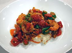 To share or NOT to share! The Dish | SC Shrimp, Sausage, Okra and Tomato Saute with Creamy Adluh Grits thedishon6.com