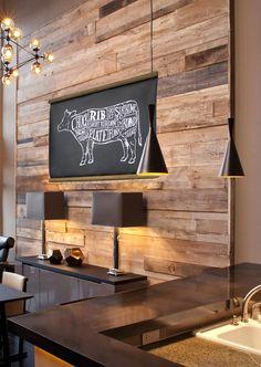 id e pour habiller le mur derri re la t l une large planche en bois clair associ e un mur. Black Bedroom Furniture Sets. Home Design Ideas
