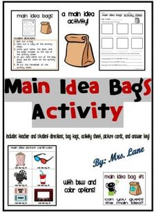 Main Idea Bags Activity (Includes 23 Different Bag Themes!) from Mrs Lane on TeachersNotebook.com -  (64 pages)  - Save your valuable time and print this ready-to-use main idea activity!  Students infer the main idea by reviewing sets of themed picture cards in bags.