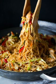 A hearty, veggie filled, chicken and noodle stir-fry dish that's amazingly delicious! Perfectly comforting and sure to satisfy those take-out cravings.
