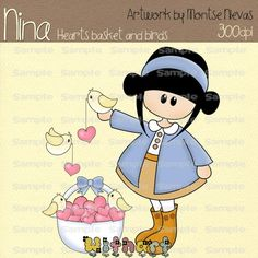 Hearts basket birds Nina dolls (0401) clip art set images for scrapbooking card making iron transfers printable crafts by Withart