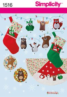 SEWING PATTERN! MAKE CHRISTMAS SOCKS~ORNAMENTS~TREE SKIRT! OWL~FOX~BEAR~DEER! $6.99