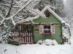 "#FanDesign ""My potting shed became Santa's workshop and a beautiful Christmas snow provided the perfect setting.""    See how she decked out the front of the shed>> http://www.roomzaar.com/rate-my-space/Holidays/Faeryhollows-Santas-Workshop-2/detail.esi?oid=23256338&soc=pinterest"