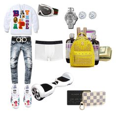 A fashion look from February 2016 featuring silvertone earrings, jewelry and mens black hi top sneakers. Browse and shop related looks. Dope Outfits For Guys, Swag Outfits Men, Stylish Mens Outfits, Tomboy Outfits, Rapper Outfits, Simple Outfits, Sport Outfits, Summer Outfits, Teen Boy Fashion