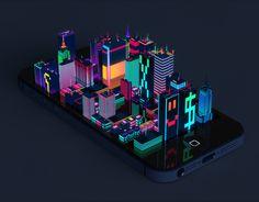 Motion Designer / Digital Artist / Graphic Designer by Marcin Struniawski, via Behance Pixel Art, 3d Pixel, Isometric Art, Isometric Design, Enter The Void, Cyberpunk, 3d Max, Neon, Motion Design