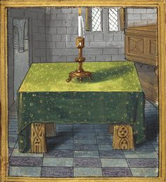 A table with a candlestick (f°8r) -- «Petit Livre d'Amour», by Pierre Sala, Paris and Lyon (France), 1st quarter of the 16th century [BL Stowe 955].