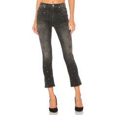 Hudson Jeans Harper High Rise Crop Baby (331 CAD) ❤ liked on Polyvore featuring jeans, embroidered jeans, high waisted cropped jeans, high rise jeans, faded jeans and white cropped jeans
