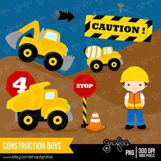 CONSTRUCTION BOYS digital clipart, Trucks clipart, Construction  clipart