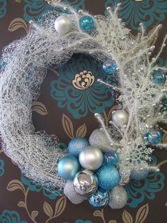 DIY Blue and silver Christmas Wreath