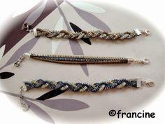 """FRANCINE BRICOLE : Bracelets """"zip"""" tricolores"""