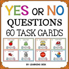 This packet includes 60 Yes or No question cards with visuals. These Yes and No closed questions are an incredible tool for speech therapy, communication, and discussion.