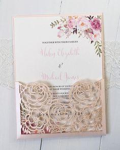 Blush Pink Floral Wedding Invitation suite Laser Cut Wedding