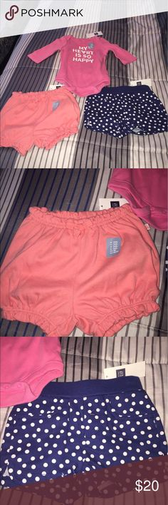 Baby girl gap clothes! Baby girl gap lot. Shorts are 3-6 months and top is 0-3 months GAP Bottoms Shorts