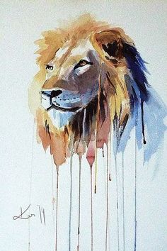 The Lion - watercolor Art Print by Kate Kos - X-Small Watercolor Lion, Watercolor Animals, Watercolor Illustration, Watercolor Paintings, Watercolor Tattoo, Animal Sketches, Animal Drawings, Art Sketches, Lion Painting